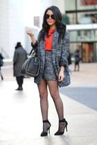 H&M skirt - desigual coat - H&M blazer - Poshmark heels - Mango top
