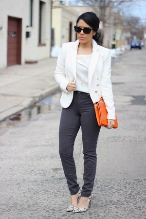 snakeskin Nine West heels - furor moda blazer - Olivia  Joy bag - Tractr pants