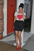 H&M t-shirt - H&M skirt - Steve Madden heels
