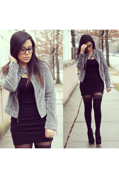 romwe jacket - Steve Madden boots - Vienne Milano stockings - Forever21 skirt
