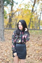 leather Choies skirt - floral print Choies blouse