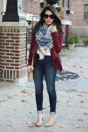 plaid blanket Dynamite scarf - H&M jeans - Tobi jacket - nude pumps Zara heels