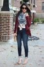 H-m-jeans-tobi-jacket-plaid-blanket-dynamite-scarf-nude-pumps-zara-heels