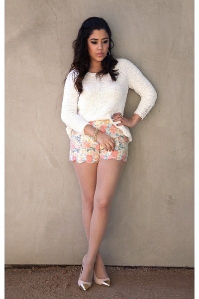 one grey day sweater - Lush shorts - Forever21 heels