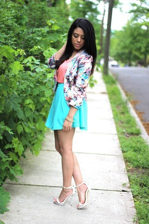 printed MollyLA blazer - H&M shirt - OASAP skirt - ankle strap Bakers sandals