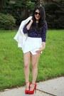 White-forever21-blazer-choies-shorts-polka-dots-h-m-top-steve-madden-heels