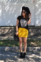 H&M shirt - Nasty Gal hat - H&M skirt - Bakers wedges