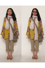 White-floral-levis-scarf-olive-green-bag-yellow-floral-tunic-top