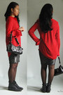 Black-lace-up-pointy-boots-red-red-chiffon-persunmall-shirt-black-bag