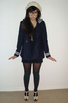 blue Topshop coat - black Forever 21 dress - white Topshop shoes - gray Dotti so