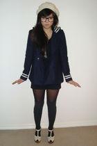 blue Topshop coat - black Forever 21 dress - white Topshop shoes - gray Dotti so