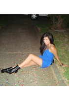 blue bardot dress - black Forever21 boots - black Chanel lambskin 255 purse