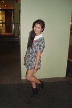 gray Vintage dress from Maki Maki dress - black bardot boots - gold Sportsgirl e