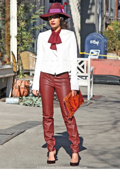 magenta Gucci hat - white Givenchy blazer - maroon Zara pants