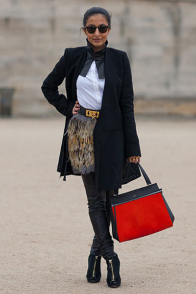 black Tom Ford boots - black balenciaga coat - carrot orange Celine bag
