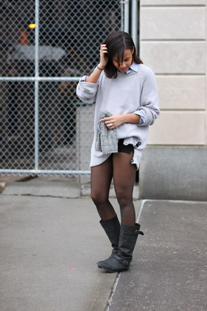 H&amp;M hat - Steve Madden boots - H&amp;M sweater - Club Monaco shirt