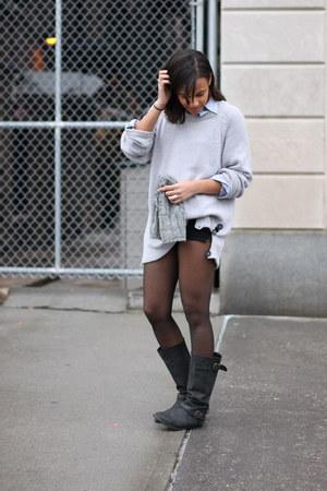 H&M hat - Steve Madden boots - H&M sweater - Club Monaco shirt