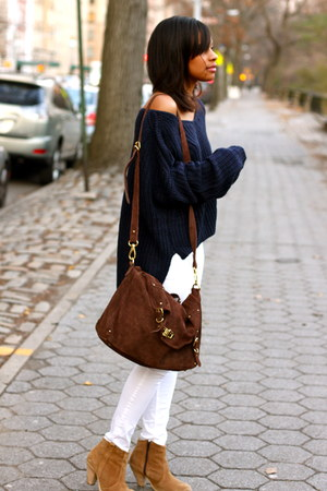 H&amp;M pants - boots boots - nastygal sweater - River Island bag