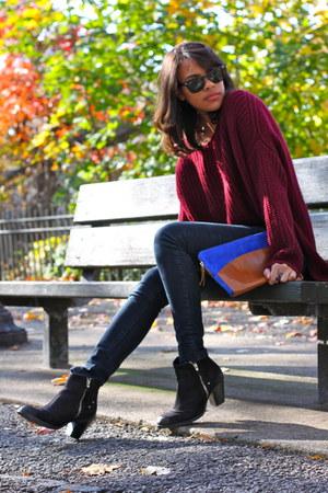 Topshop boots - f21 jeans - Zara bag - nastygal jumper