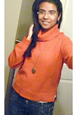 orange H&M sweater - blue thrifted jeans - olive green Forever 21 necklace
