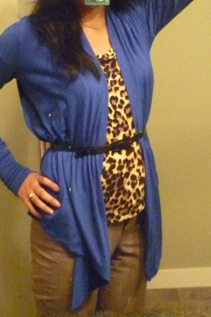 blue drapey in front Gap cardigan - burnt orange leopard print Forever 21 top