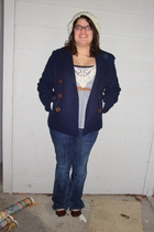 blue J Crew coat - beige Old Navy cardigan - blue Wet Seal top - blue frenzi shi