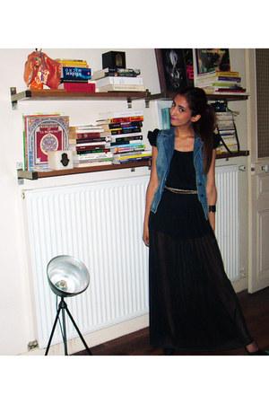 long skirt H&M dress - leopard print new look belt - python H&M bracelet