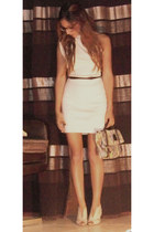 one shoulder American Apparel dress - snakeskin Adolpho Dominguez bag - open toe