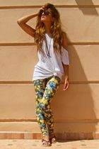black shoes - green floral American Apparel leggings - black scissors forms vint