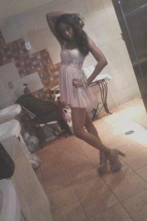 tan lita Jeffrey Campbell boots - beige lace unknown dress - tan H&M necklace