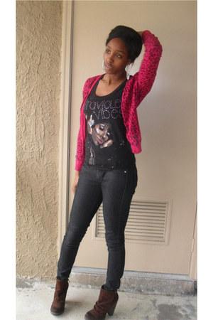 black shirt - hot pink H&M cardigan