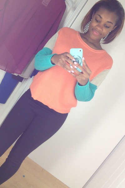 black basic black Target leggings - orange color block marshals sweater