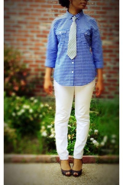white skinny jeans Forever 21 jeans - gingham Old Navy shirt