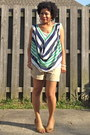 Tan-khaki-old-navy-shorts-turquoise-blue-draped-wet-seal-blouse
