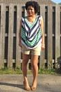 Tan-khaki-old-navy-shorts-turquoise-blue-draped-wet-seal-blouse
