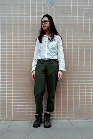 crimson boots - light yellow shirt - army green pants - black glasses