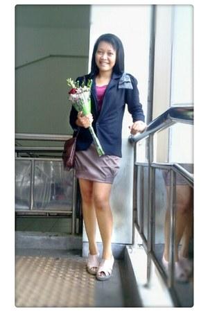 black tights Nevada blazer - leather bag Chanel bag - glam morningflos skirt
