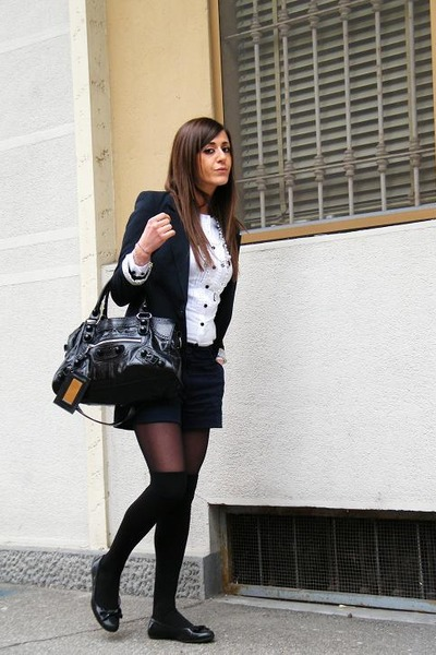 black Fornarina shoes - blue H&M shorts - blue Guess blazer - black bag balencia