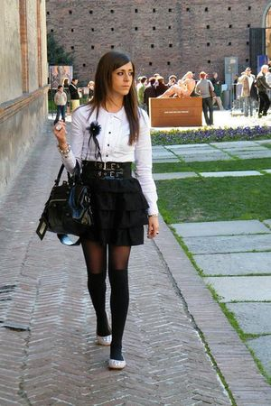 black balenciaga purse - white H&M shirt - black H&M skirt - black Calzedonia st
