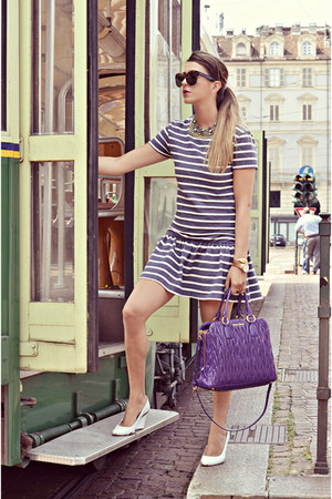 violet Miu Miu bag - white sarenza shoes - heather gray asos dress
