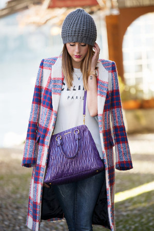 deep purple Zara jacket - purple Miu Miu bag - white Sheinside t-shirt