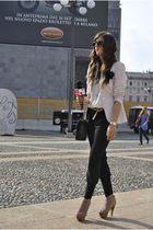 beige Steve Madden shoes - pink Prada blazer - black Chanel bag