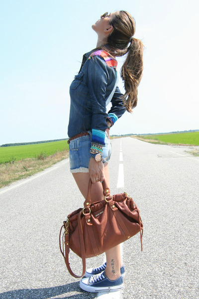 burnt orange Miu Miu bag - blue True Religion shirt - blue Miss Sixty shorts