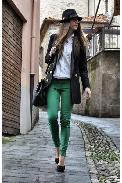 chartreuse Zara jeans - black DSquared hat - black Moschino blazer - black miss