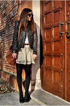 gray Frankie Morello jacket - carrot orange Miu Miu bag - light pink Zara skirt