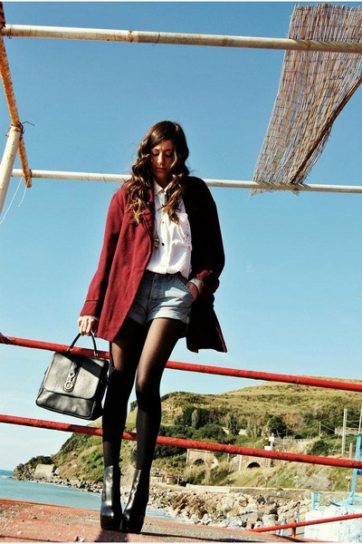 black asos boots - ruby red my grand father blazer - light blue Levis shorts