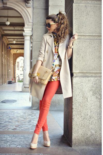 neutral Rinascimento jacket - carrot orange Zara jeans