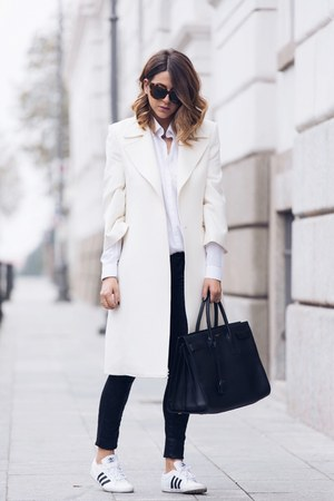white Castellani coat - black Yves Saint Laurent bag - white Adidas sneakers