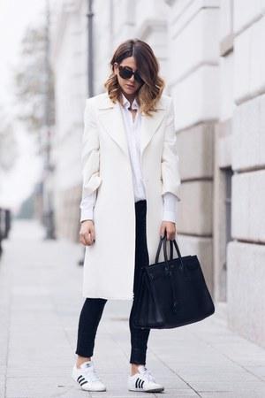 white Castellani coat - black Yves Saint Laurent bag - white Adidas sneakers