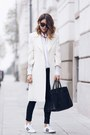 White-castellani-coat-black-yves-saint-laurent-bag-white-adidas-sneakers